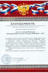 Благодарственное письмо от города Вязьма