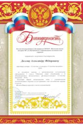 Letter of gratitude from the Ministry of Youth of the Republic of Tatarstan